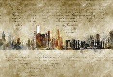 Orizzonte di Chicago nello sguardo d'annata moderno ed astratto Fotografia Stock