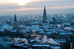 Orizzonte di Cluj-Napoca di mattina Fotografia Stock