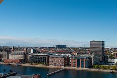 Orizzonte di Copenhaghen in Danimarca Immagini Stock Libere da Diritti