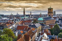 Orizzonte di Copenhaghen, Danimarca immagine stock libera da diritti