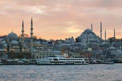 Orizzonte di Costantinopoli al tramonto Immagine Stock Libera da Diritti