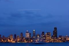 Orizzonte di crepuscolo di Seattle Fotografia Stock Libera da Diritti