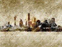 Orizzonte di Dallas nello sguardo d'annata moderno ed astratto Fotografie Stock
