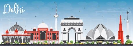 Orizzonte di Delhi con Gray Buildings e cielo blu illustrazione di stock