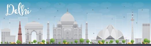 Orizzonte di Delhi con i punti di riferimento ed il cielo blu grigi royalty illustrazione gratis