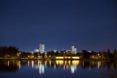 Orizzonte di Denver alla notte Fotografia Stock Libera da Diritti