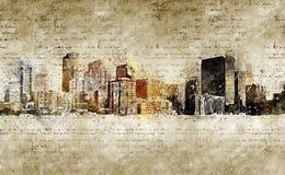 Orizzonte di Denver nello sguardo d'annata moderno ed astratto Fotografia Stock Libera da Diritti