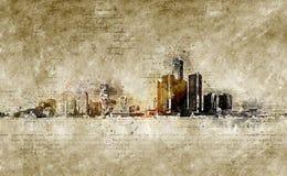 Orizzonte di Detroit nello sguardo d'annata moderno ed astratto Immagini Stock Libere da Diritti