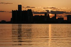 Orizzonte di Detroit Immagini Stock Libere da Diritti
