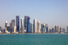 Orizzonte di Doha. Il Qatar Fotografia Stock Libera da Diritti