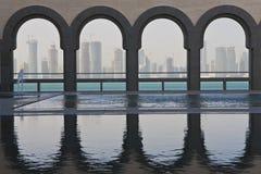 Orizzonte di Doha, Qatar il dicembre 2008 Fotografie Stock Libere da Diritti