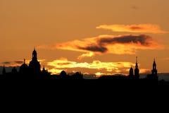 Orizzonte di Dresda al tramonto Fotografia Stock Libera da Diritti
