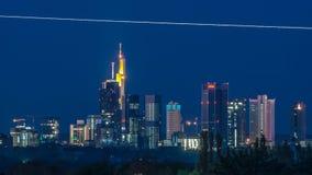 Orizzonte di Francoforte sul primo mattino Fotografia Stock Libera da Diritti