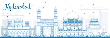 Orizzonte di Haidarabad del profilo con i punti di riferimento blu Immagini Stock