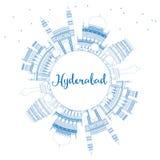 Orizzonte di Haidarabad del profilo con i punti di riferimento e lo spazio blu della copia Immagine Stock