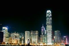 Orizzonte di Hong Kong alla notte Immagini Stock Libere da Diritti