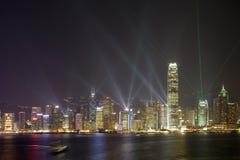Orizzonte di Hong Kong alla notte fotografie stock