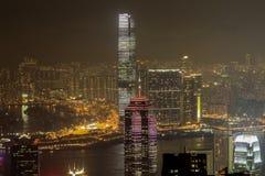 Orizzonte di Hong Kong alla notte Fotografia Stock Libera da Diritti