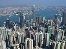 Orizzonte di Hong Kong dal picco Fotografie Stock Libere da Diritti