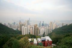 Orizzonte di Hong Kong dal picco della Victoria fotografie stock