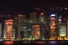 Orizzonte di Hong Kong e decorazioni cinesi di nuovo anno Immagini Stock Libere da Diritti