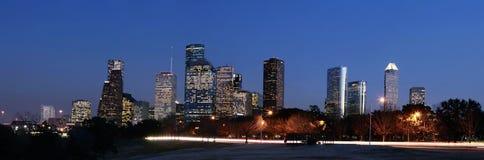 Orizzonte di Houston alla notte Fotografia Stock