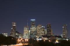 Orizzonte di Houston alla notte Immagini Stock Libere da Diritti