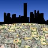 Orizzonte di Houston con i dollari Fotografia Stock