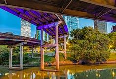 Orizzonte di Houston nella sera Fotografia Stock