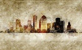 Orizzonte di Houston nello sguardo d'annata moderno ed astratto Fotografia Stock Libera da Diritti