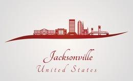 Orizzonte di Jacksonville nel rosso Fotografia Stock