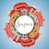 Orizzonte di Jaipur con i punti di riferimento di colore, il cielo blu e lo spazio della copia illustrazione di stock