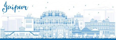 Orizzonte di Jaipur del profilo con i punti di riferimento blu illustrazione di stock