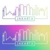 Orizzonte di Jakarta Stile lineare variopinto Fotografie Stock