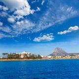 Orizzonte di Javea Xabia dal mar Mediterraneo Spagna Fotografia Stock