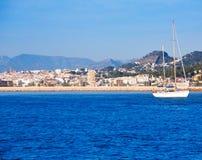 Orizzonte di Javea Xabia dal mar Mediterraneo Spagna Immagini Stock Libere da Diritti