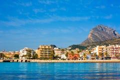 Orizzonte di Javea Xabia dal mar Mediterraneo Spagna Immagine Stock