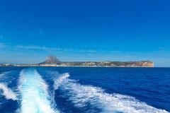 Orizzonte di Javea Xabia dal mar Mediterraneo Spagna Fotografia Stock Libera da Diritti