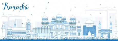 Orizzonte di Karachi del profilo con i punti di riferimento blu illustrazione di stock