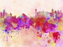 Orizzonte di Las Vegas nel fondo dell'acquerello Fotografia Stock