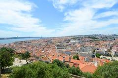 Orizzonte di Lisbona e Tejo River, Lisbona, Portogallo Fotografia Stock