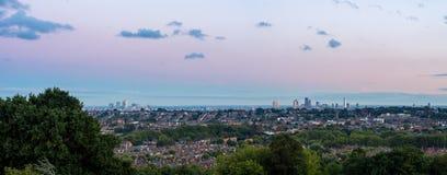Orizzonte di Londra al crepuscolo Fotografie Stock