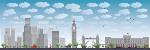 Orizzonte di Londra con i grattacieli e le nuvole illustrazione vettoriale
