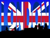 Orizzonte di Londra con il testo della bandierina royalty illustrazione gratis