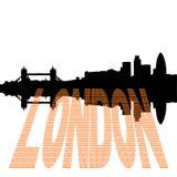Orizzonte di Londra con il testo della libbra Immagine Stock