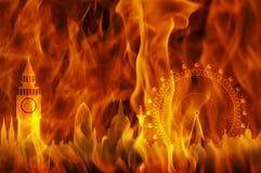 Orizzonte di Londra del fuoco Fotografia Stock