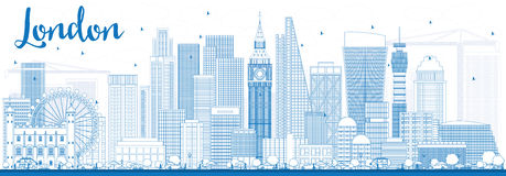 Orizzonte di Londra del profilo con le costruzioni blu Immagine Stock