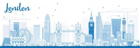 Orizzonte di Londra del profilo con le costruzioni blu Immagine Stock Libera da Diritti