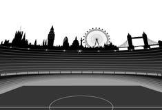 Orizzonte di Londra e dello stadio Fotografia Stock Libera da Diritti
