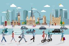 Orizzonte di Londra e gente di affari di camminata Fotografia Stock Libera da Diritti